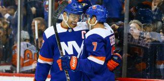 Jordan Eberle and Anders Lee of the New York Islanders celebrate a goal