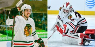 Pius Suter and Kevin Lankinen of the Chicago Blackhawks