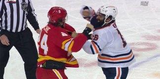 Edmonton Oilers forward Jujhar Khaira knocks out Calgary Flames forward Brett Ritchie