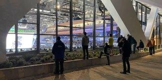Seattle Kraken fans watch game outside Climate Pledge Arena