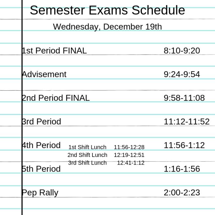 High School Semester Exam Schedule