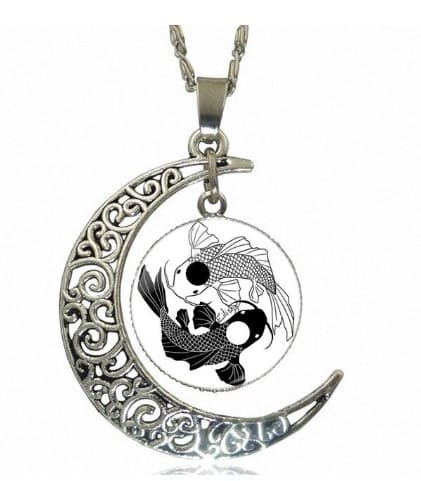 koi fish tattoo black and white yin yang necklace