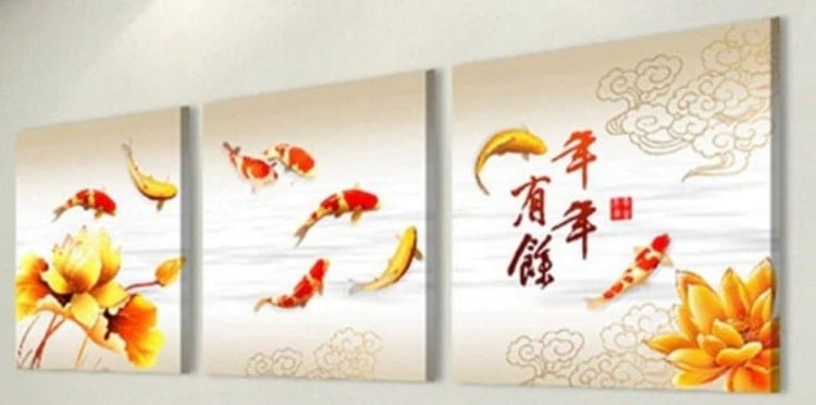 koi art koi fish chinese calligraphy painting