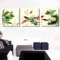 9 koi fish with lotus & water lily chinese koi fish painting