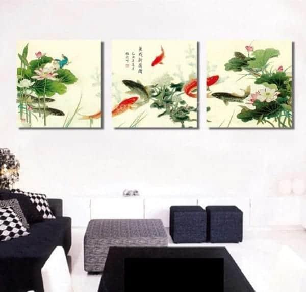 9 koi fish with lotus & water lily chinese koi fish painting