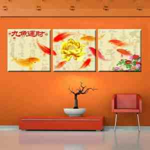 koi fish art koi fish painting golden lotus flower chinese calligraphy painting