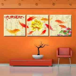 koi fish art koi fish painting golden lotus flower chinese calligraphy painting