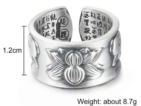 Sterling Silver Rings Koi Fish And Lotus Flower Design With Hand Stamped Chinese Characters Unisex Adjustable Size Ring