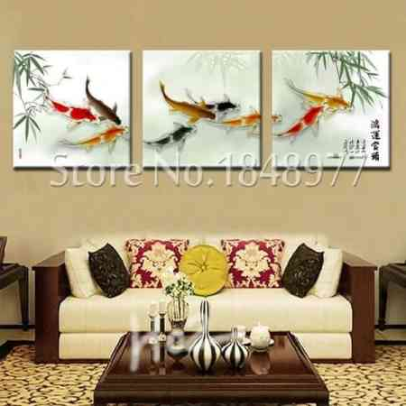 chinese calligraphy painting fish