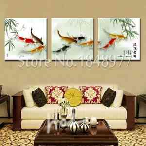 chinese calligraphy painting fish