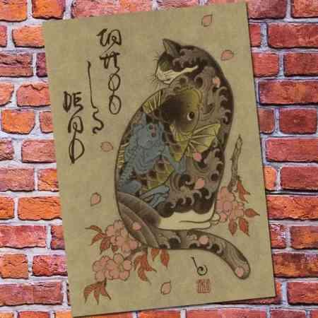 japanese painting samuria cat with koi fish tattoo