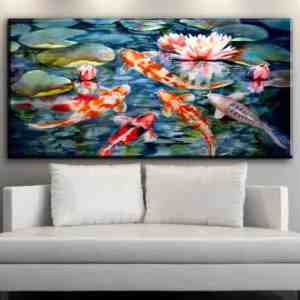 japanese koi fish painting with lotus flower background