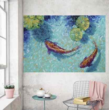 two chagoi koi fish abstract painting in lily koi pond