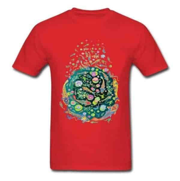 Koi fish shirt doodle art design red color for sale