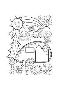 disegni da colorare in formato A4 caravan