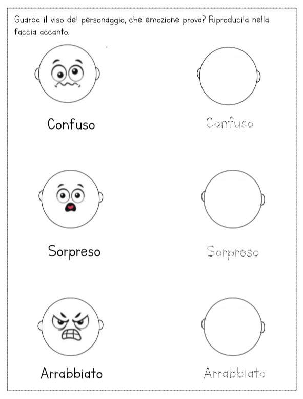 schede didattiche emozioni espressioni facce