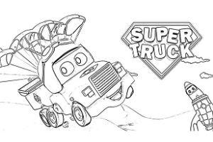 Super Truck disegni da colorare e stampare PDF Carl Trasform paracadute