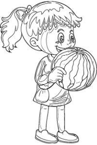 Bambina che mangia anguria disegno da stampare e colorare