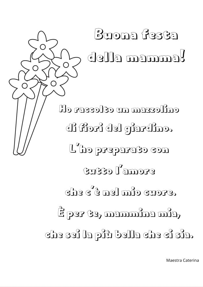 poesia per la festa della mamma da colorare