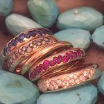 fedine oro rosa, diamanti, rubini, zaffiri