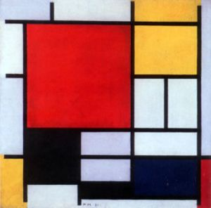 Piet Mondrian, Composition with large red plane, yellow, black, grey and blue (1921)