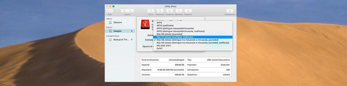 Codificare un disco esterno su Mac