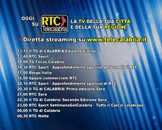 Oggi su RTC Telecalabria  Programmazione del 20 febbraio 2018