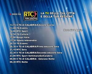 Oggi su RTC Telecalabria – programmazione del 24 aprile 2018