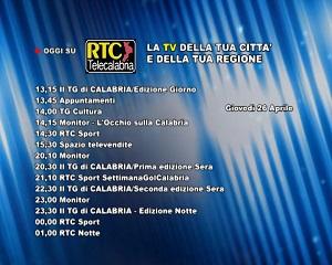 Oggi su RTC Telecalabria – programmazione del 26 aprile 2018