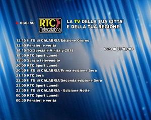Oggi su RTC Telecalabria – programmazione del 23 aprile 2018