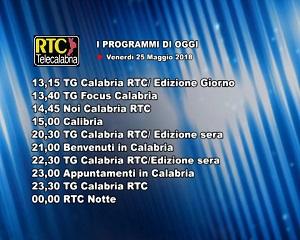 Oggi su RTC Telecalabria – programmazione del 25 maggio 2018