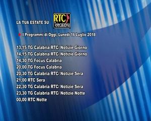 Oggi su RTC Telecalabria – Programmazione del 16 luglio 2018