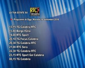 Oggi su RTC Telecalabria – Programmazione del 18 settembre 2018