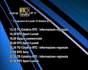 Oggi su RTC Telecalabria – Programmazione del 15 ottobre 2018