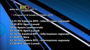 Oggi su RTC Telecalabria – Programmazione del 22 ottobre 2018