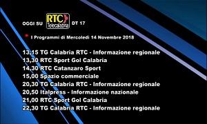 Oggi su RTC Telecalabria – Programmazione del 14 novembre 2018
