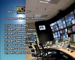 Oggi su RTC Telecalabria – Programmazione del 12 dicembre 2018