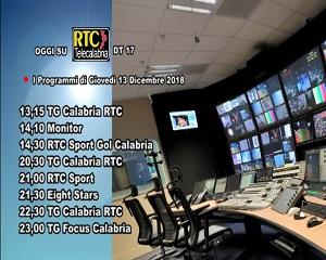 Oggi su RTC Telecalabria – Programmazione del 13 dicembre 2018