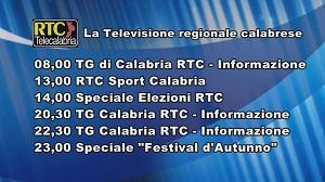 Oggi su RTC Telecalabria – Programmazione del 13 novembre 2019