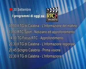 IN TV SU RTC – Mercoledì 30 Settembre
