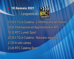 IN TV SU RTC – Lunedì 18 Gennaio