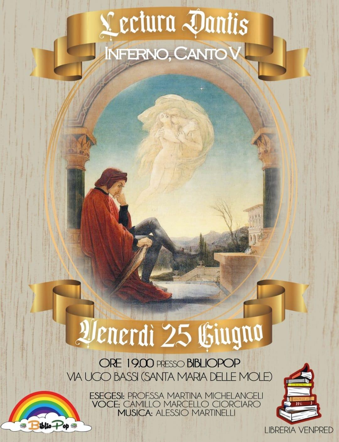 Marino, BiblioPop ospita la Lectura Dantis del V canto dell'Inferno