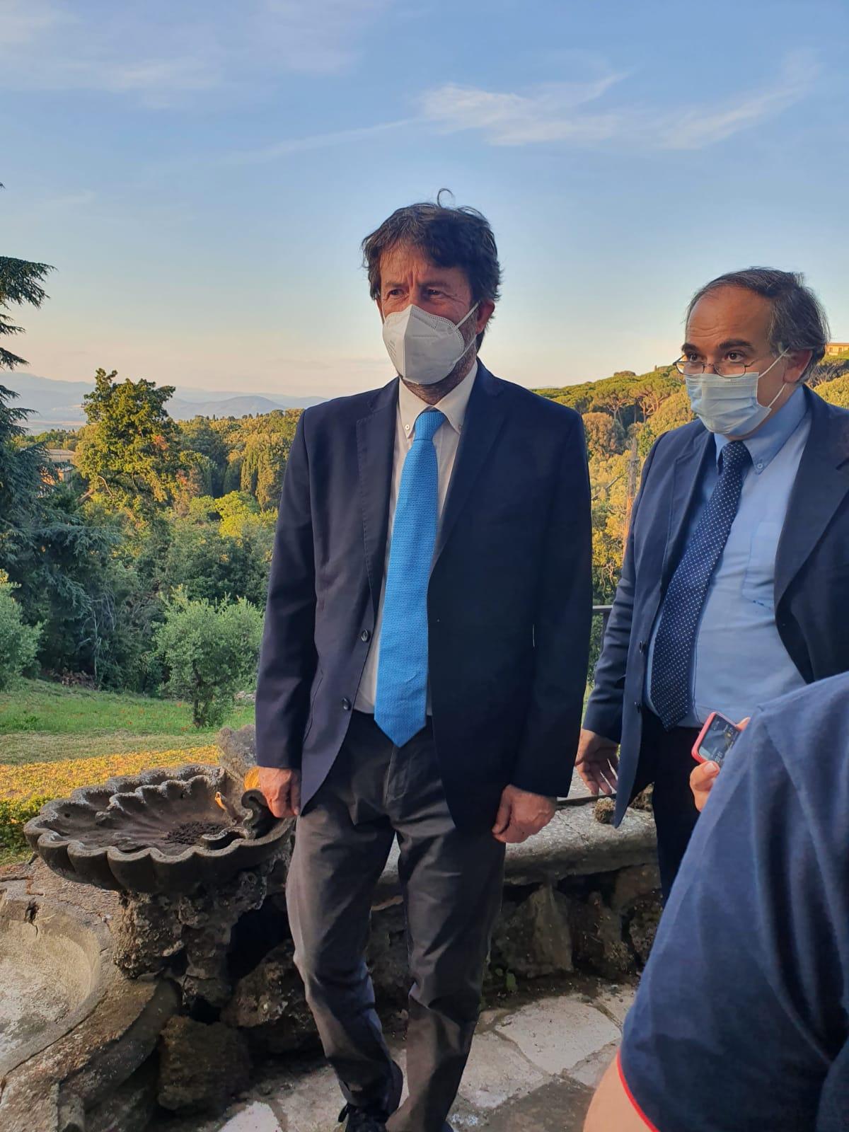 Frascati, visita del ministro della cultura Franceschini a Villa Falconieri