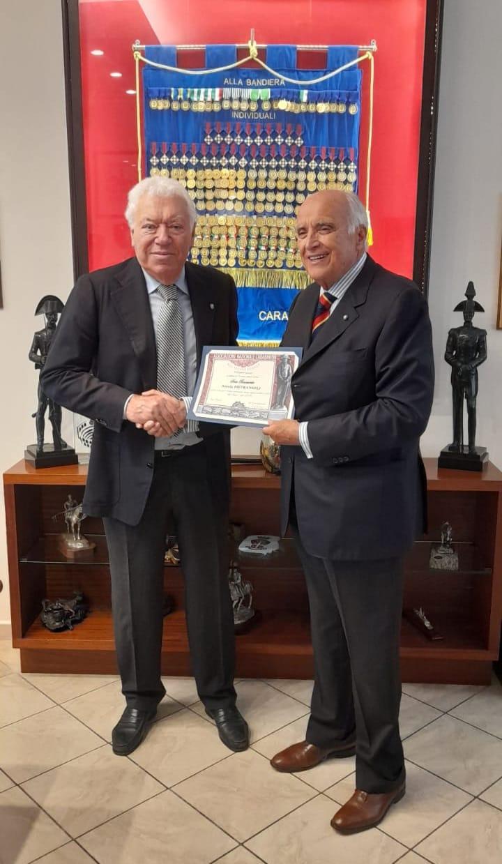 Roma, diploma di socio benemerito dell'ANC per Nicola Pietrangeli