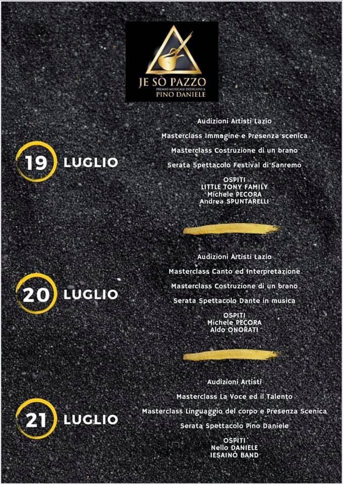 """Grottaferrata, parte la settimana del premio musicale """"Je so pazzo"""" dedicato a Pino Daniele"""