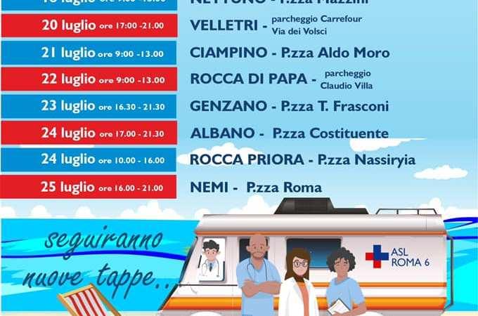 """Asl Roma 6, """"La salute in movimento"""", campagna di vaccinazione itinerante"""