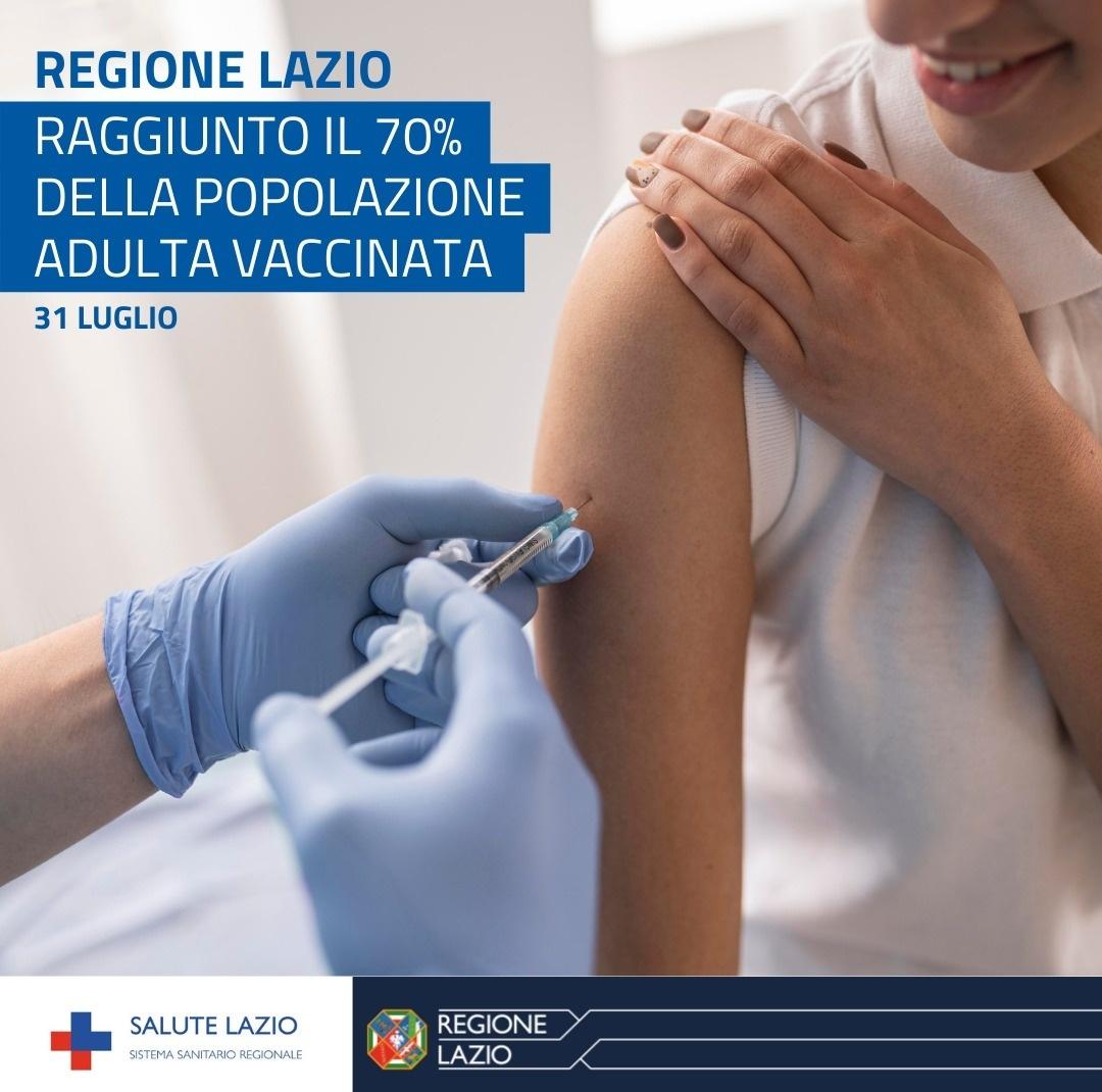 """Covid, D'Amato: """"raggiunto il 70% della popolazione adulta vaccinata nel Lazio"""""""
