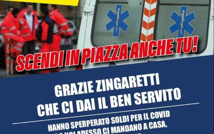 Centinaia di operatori del 118 provenienti anche dai Castelli Romani a Montecitorio per evitare il licenziamento