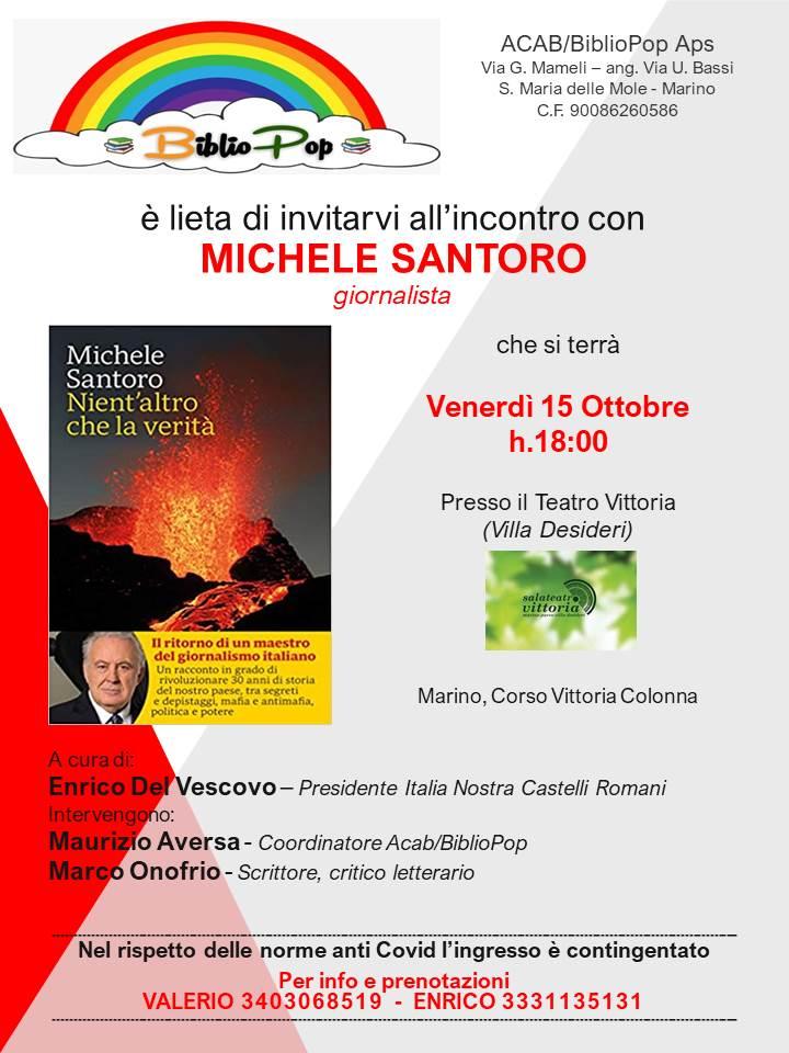 Marino, Bibliopop presenta Michele Santoro alla SalaTeatro Vittoria venerdì 15
