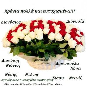 Read more about the article 23 Ιανουαρίου 2017.Σήμερα γιορταζουν.:Διονύσιος, Διονύσης, Νιόνιος, Νύσης, Ντένης, Διονυσία, Διονυσούλα, Νύσα, Σίσσυ, Ντενίζ,Αγαθάγγελος, Αγαθαγγέλα, Αγαθαγγέλη……giortazo.gr